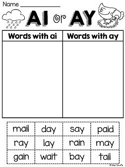 ai ay sound word sort cutting and pasting phonics fun.. great no prep vowel team worksheets for ai and ay