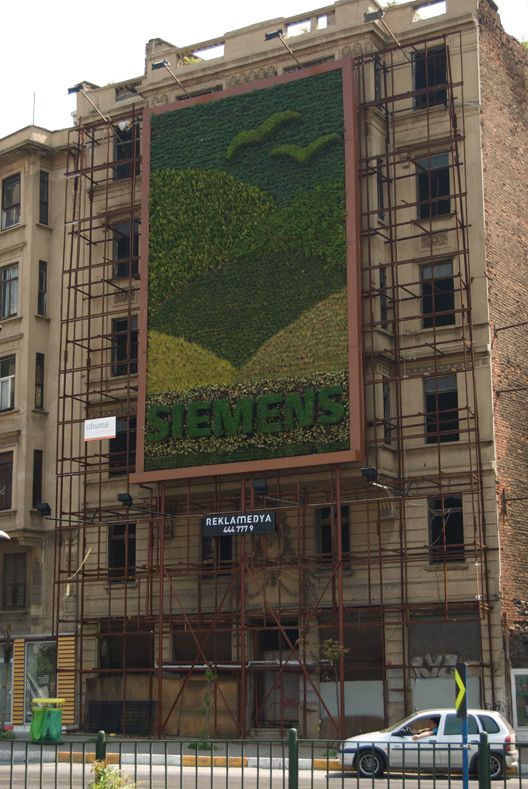 Here's the first living wall of Istanbul. Designed as a billboard for Siemens, the 90 m2 garden is located on a building in Şişhane undergoing renovation. The garden is home to 4000 plants belonging to 8 different species, which do not require soil to survive.