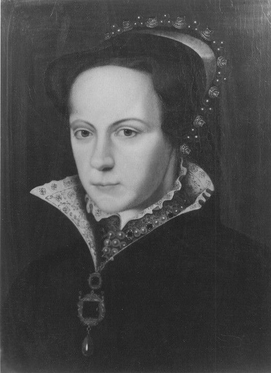 Queen Mary I by unknown artist, Southern Netherlands  Portrait of Queen Mary I by an unknown artist. Southern Netherlands; sixteenth-century. Oil on panel; 45 x 35cm. Royal Museum of Fine Arts, Antwerp.   From 1554-8, Mary was married to the ruler of the Netherlands and her prospective male children held a claim to these lands, factors which encouraged the production of her image in the region.