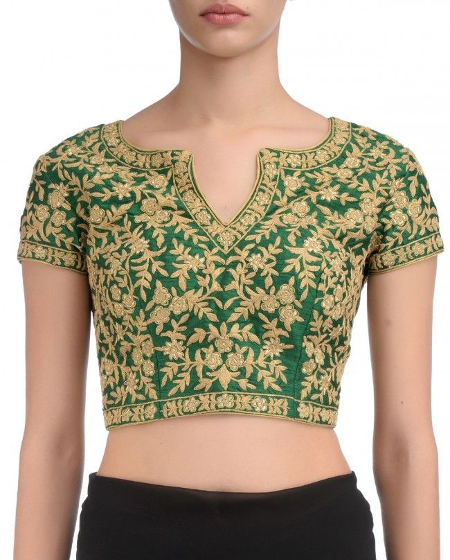 Golden Floral Embroidered Emerald Blouse | Divya Kanakia