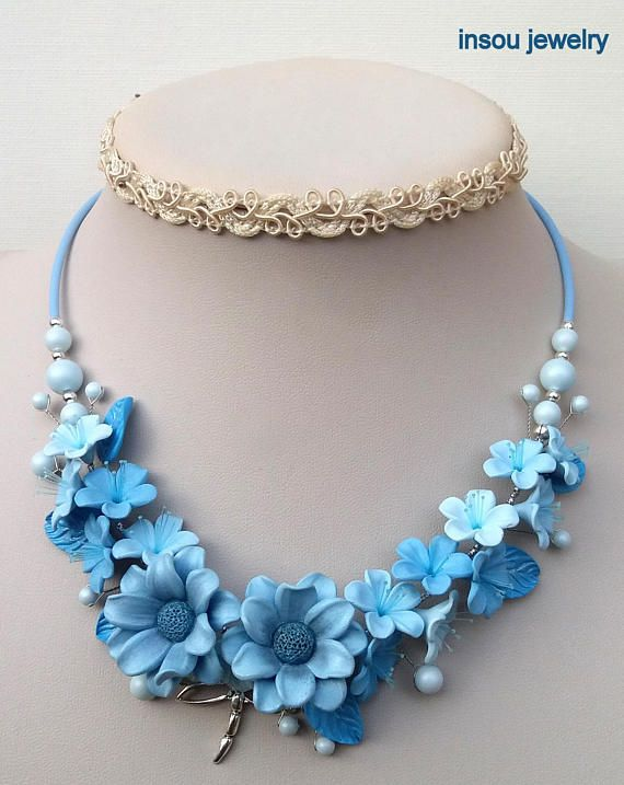Wedding Necklace, Light Blue Necklace, Flower Necklace, Statement Necklace, Flower Jewelry, Gift For Her, Light Blue Grey Jewelry