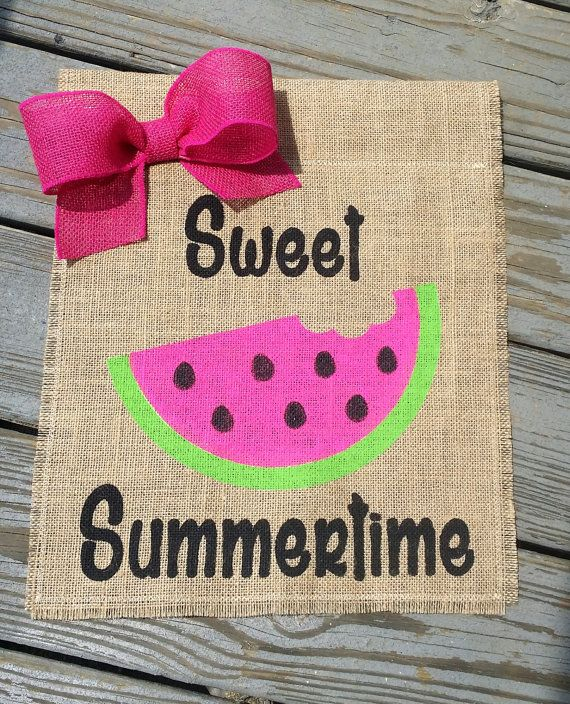 Watermelon Burlap Garden Flag Summer Garden by ModernButterfly