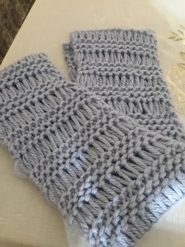 Loom knitted elongated stitch infinity scarf by Leen K.