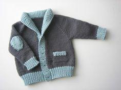 Un azul y gris, grampa de estilo chaqueta de punto para bebés