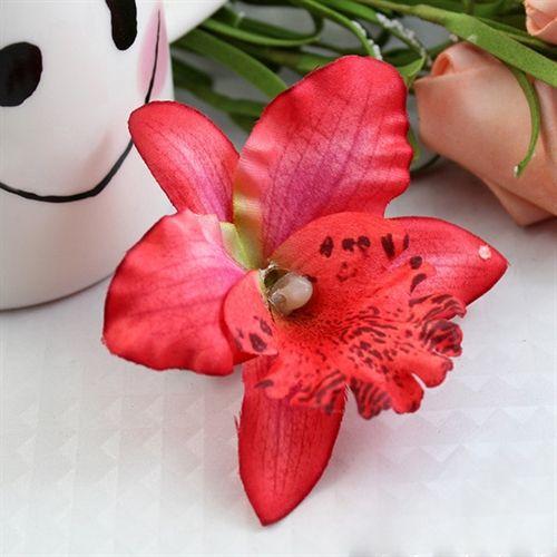 Rød orkide hårclips