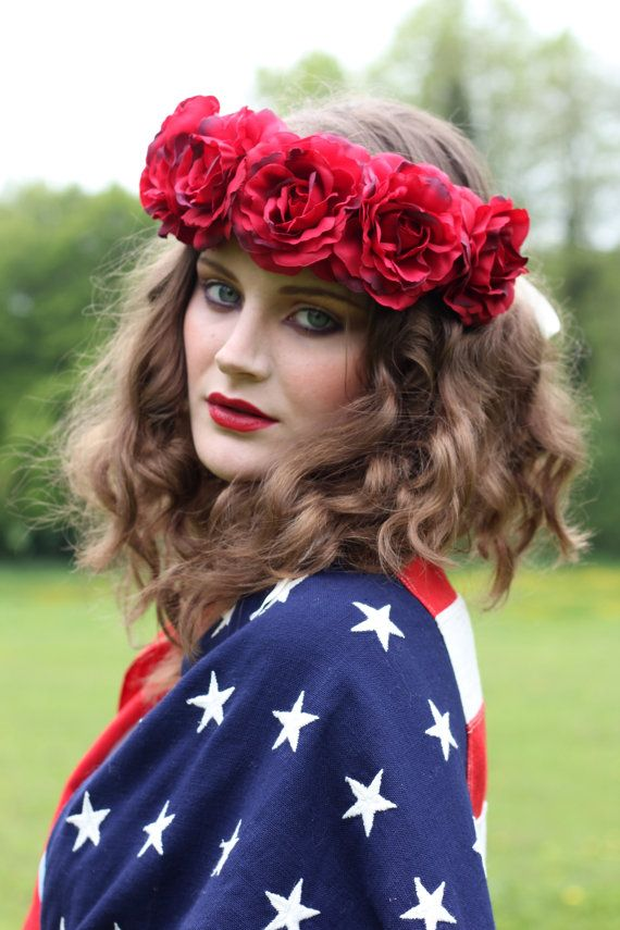 Red floral hairband flower crown floral hairpiece by rougepony, £35.00