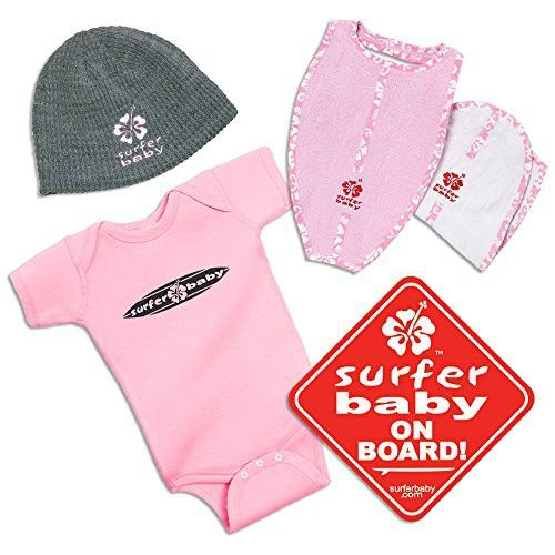 The New Kid in the Lineup Surfer Baby Shower Cool Surf Infant Newborn Gift Set Package (Pink)