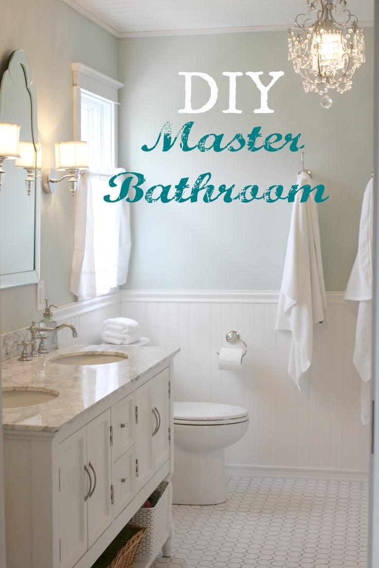 master bath, pedestal tub, carrera marble, subway tile, diy bath, built ins, bead board, bead board planked ceiling
