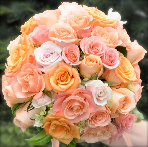 Wedding bouquet made of roses in salmon, coral and pink tones. on Etsy, $95.00