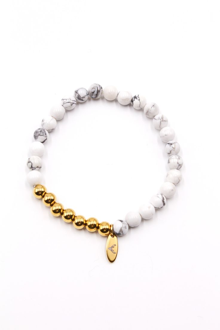 Men's Beaded Bracelet White Howlite & Gold Stainless Steel 8mm Hang Charm