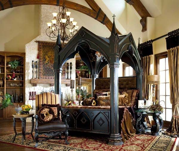 Bedroom Impressive Gothic Bedroom Designs With Black Canopy Bed Also Luxurious Rugs And Classic Armchair And Coffee Table Plus Bronze Chandeliers Design