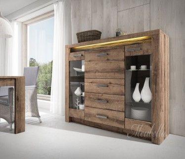 Dressoir Invido is een eigentijds en praktisch dressoir met een landelijke stijl. Dit model beschikt over 2 deuren, 1 klapdeur en drie lades. Het meubel is uitgevoerd in eiken en beschikt over LED-verlichting
