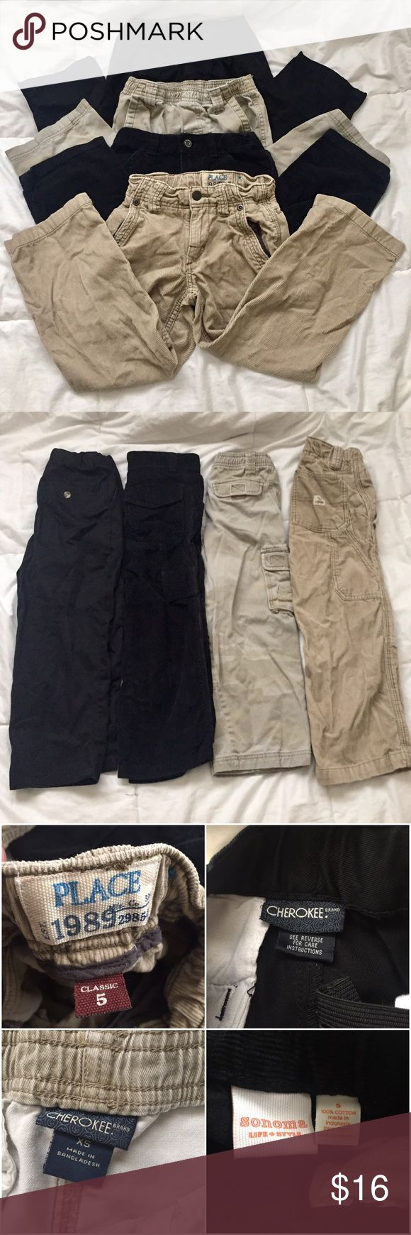Bundle of 4 Boys Pants size 5 Boys black slacks Cherokee brand size 5 100% cotton. adjustable waist.  Khaki camo pants Cherokee brand size extra small to side pockets for pockets total elastic waist band   Boys black chords by Sonoma life and style size 5 and 100% cotton adjustable waist.  Khaki chords by the children's Place size 5 classic Adjustable waist  All in good condition with normal signs of wear from wash. Black pants are not faded.   Questions? Please ask prior to purchasing…