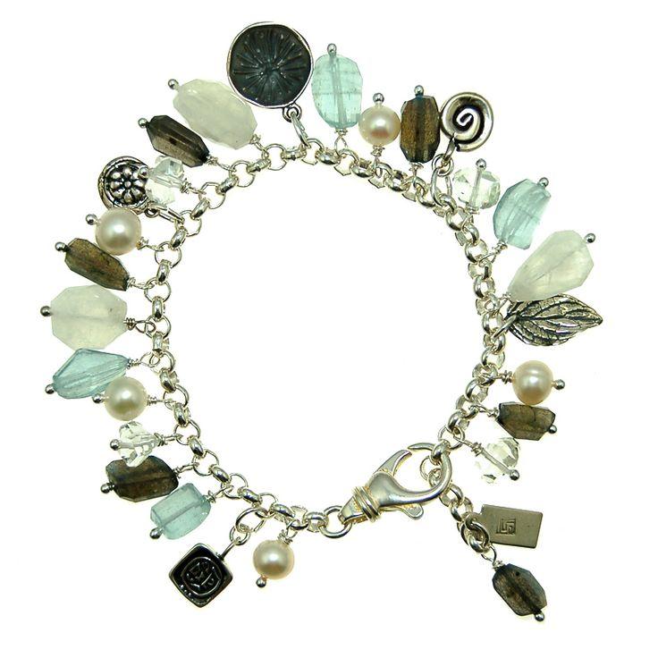 Aquamarine, Moonstone, Labradorite, Clear Quartz and Pearl Charm Bracelet (B400R) $400