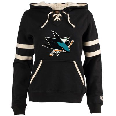 Women's San Jose Sharks Old Time Hockey Black Grant Lace-Up Slim Fit Hoodie