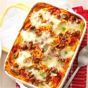 Favorite Baked Spaghetti Recipe from Taste of Home