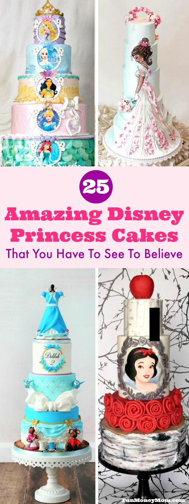 Disney Princess Cakes - Throwing a princess party for your little one? You're going to need a birthday cake and these amazing Disney princess cakes are sure to inspire you!
