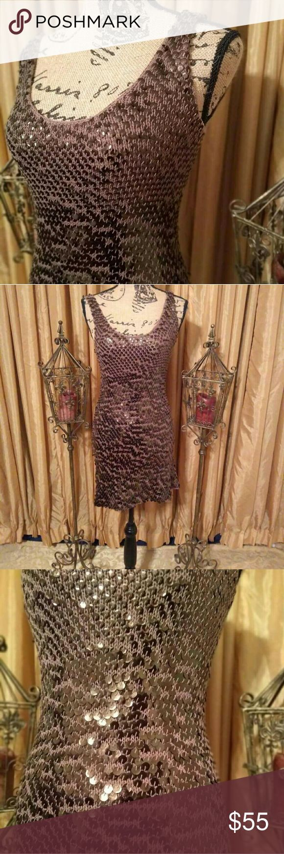 TRINA TURK Dress PRACTICALLY VINTAGE...This 70s inspired dress features a crochet sequin design in the rich color brown. This dress has a little stretch and is sleeveless. Excellent condition. Message for specific details♤ Trina Turk Dresses