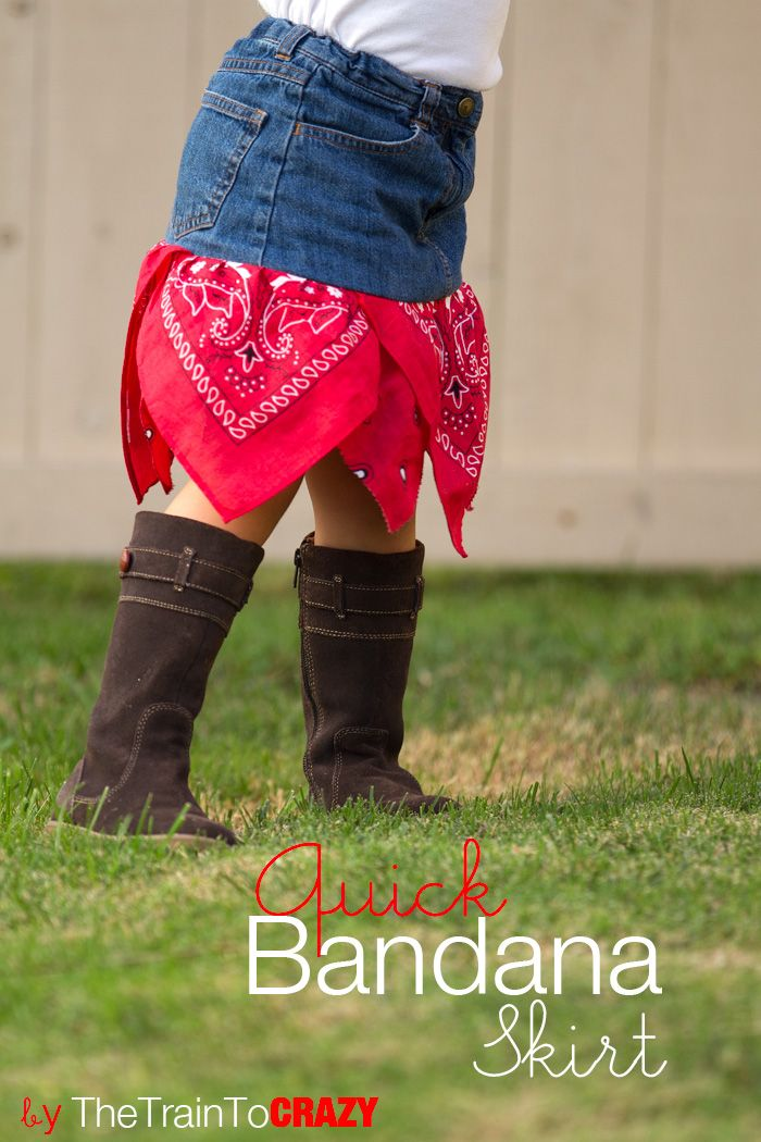 Quick bandana skirt for a cowgirl. Could be done with a readymade jean skirt for women, too. So cute for the rodeo!