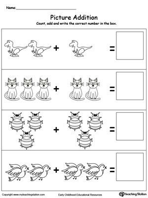 Learn addition by counting the pictures with this addition with pictures dinosaur printable worksheet.