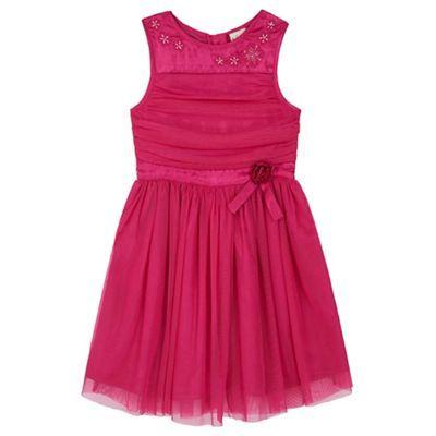 Yumi Girl pink Mesh Prom Dress With Corsage   Debenhams