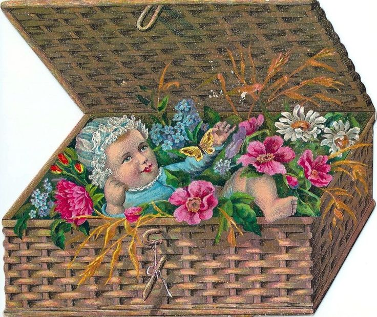 Victorian Card/Scrap - Diecut, Double Sided Litho: BABY IN BASKET WITH FLOWERS
