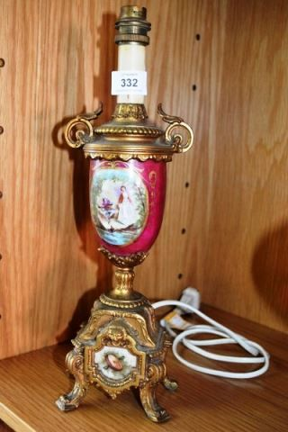Bargain Hunt Auctions - on 21-2-15 - Lot 332 - An antique lamp with gilt metal embellishments,