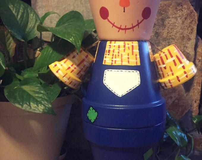 Pentola di spaventapasseri Flower Pot persone 0006 / indoor arredamento / outdoor arredamento / giardino statua / regalo di compleanno / fall arredamento / POT di argilla
