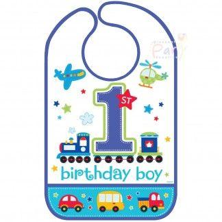 All Aboard Boy 1st Birthday Bib | 1st All Aboard Boy First Birthday Party Supplies - Discount Party Supplies