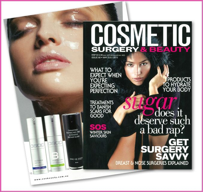 We are thrilled to have four fabulous asap skin products featured in the latest issue of Cosmetic Surgery & Beauty. The magazine has hand picked the best available active products to treat skin through winter by promoting cell turnover and building an even skin tone. Included in this feature are the radiance serum, super B complex, anti-ageing night cream and ultimate hydration. See your local stockists for further details on these skin-saving serums and moisturisers.