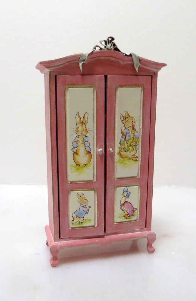Beatrix Potter Hand Painted Dollhouse Nursery Armoir Chest Baby Furniture