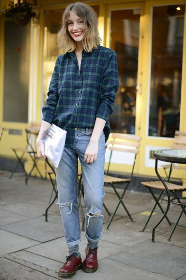 ASOS Personal Stylist Rachel wears a boyish check shirt with ripped jeans and Dr Marten shoes #AW14 #streetstyle