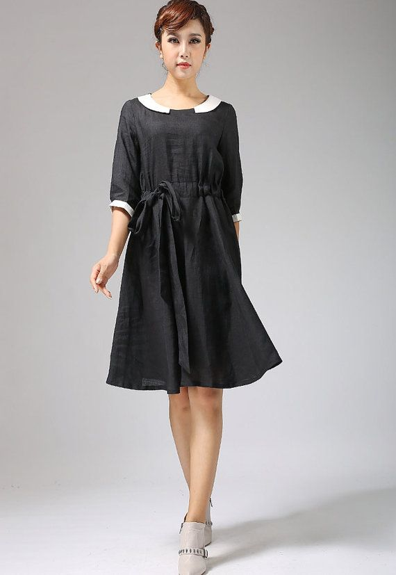 Black linen dress with collar and elbow length sleeves by xiaolizi, $75.00