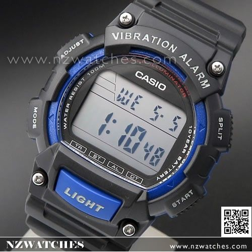 Casio Vibration Alarm 100M Digital Watch W-736H-2AV, W736H