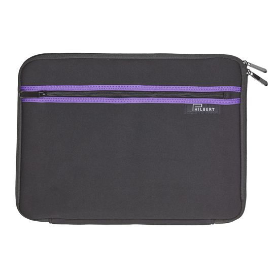 Sleeve for any 13″ Laptops, in black withpurple stripes outside. A unique sleeve, with foldable sides. The sleeve allows you to use your computer in the train, garden and other public places without worrying about the sun or your privacy.