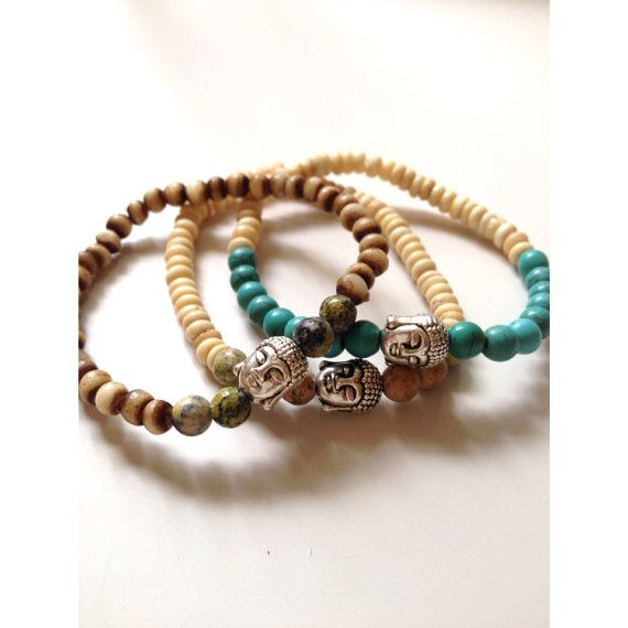 Buddha bracelet stackthree stretchy natural stone by SuryaSoul, €20.00