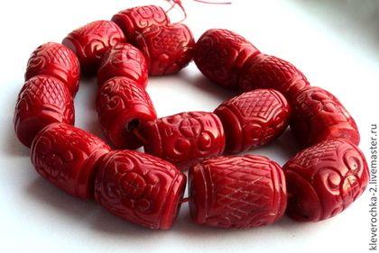 Коралл БОРДО резной цилиндр большие бусины для украшений Бусины коралла для браслетов, ожерелья, колье, бус, серег.