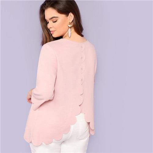 Pink Office Lady O Neck Button Back Scallop Hem Long Plus Size Blouse Women Autumn Solid Casual Workwear Blouses Pink L