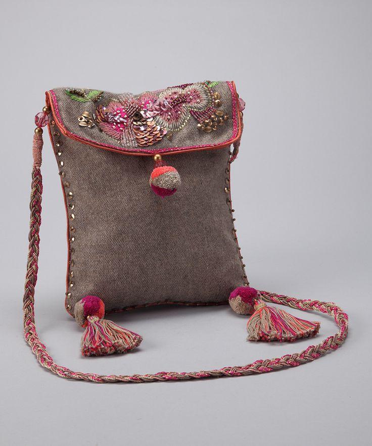 Beige & Pink Tassel Shoulder Bag