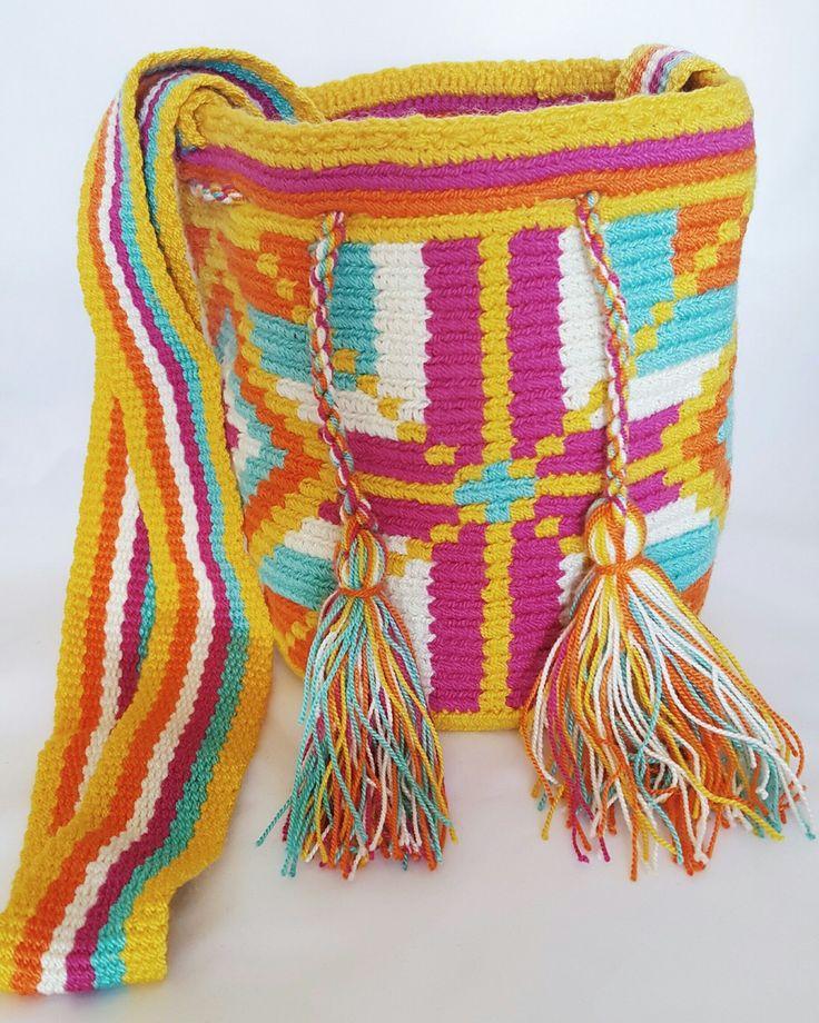 Wayuu Bag-Pattern Cross Yellow - Alynshop