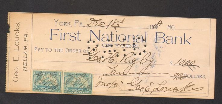 1898 Receipt First National Bank York PA with 2 One cent Documentary Stamps