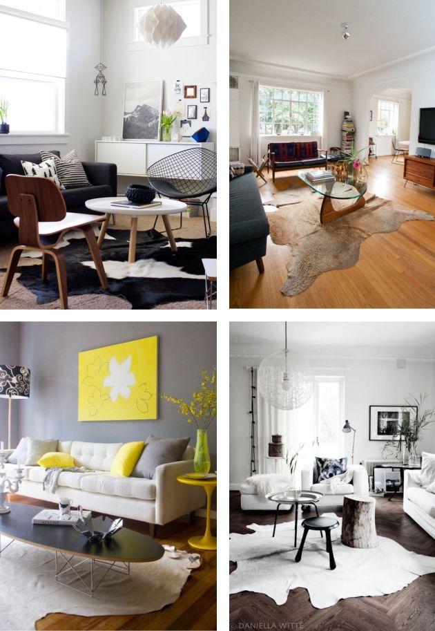 Cowhide rugs / Tapete de pele bovina: você gosta? / www.thebluepost.com.br