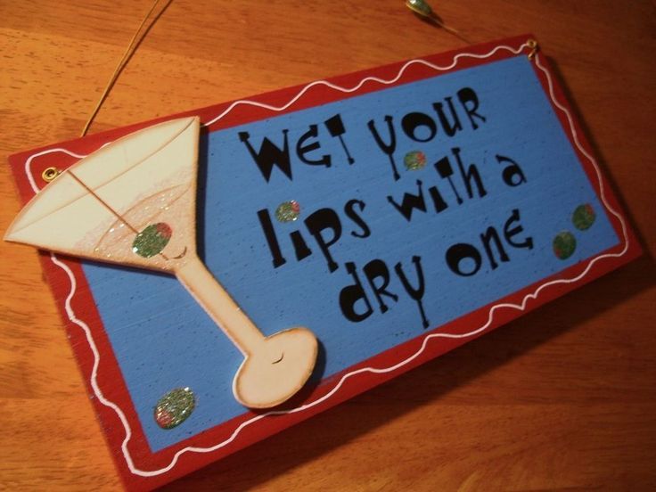 WET YOUR LIPS WITH A DRY ONE Martini Drink Glass Home Decor Bar Pub Sign NEW #Contemporary
