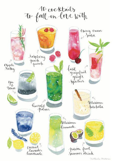 Cocktail Art Print Watercolor cocktail door NathalieOuederni