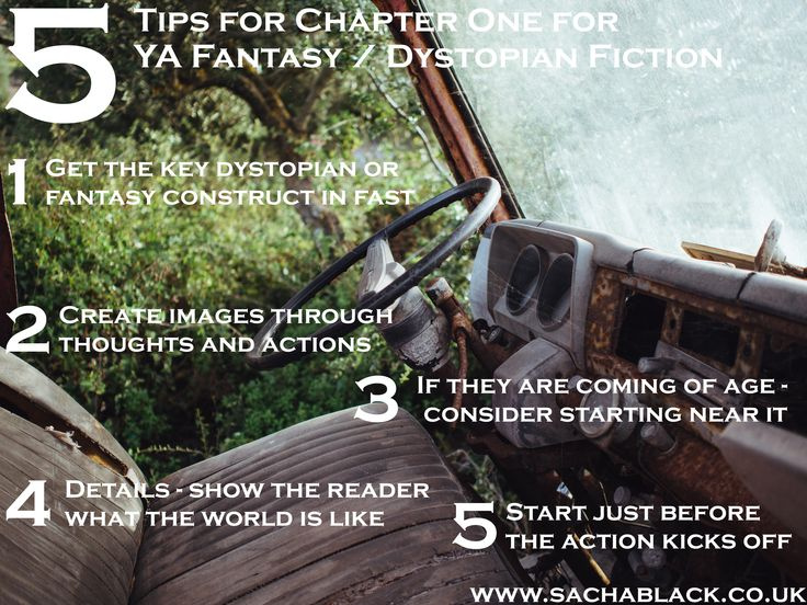 5 top tips for chapter one - for YA fantasy and dystopian writers Visit www.sachablack.co.uk for more tips and discussion on all things writing