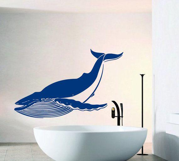 Wall Decals Big Whale Sea Ocean Animals Bathroom Interior