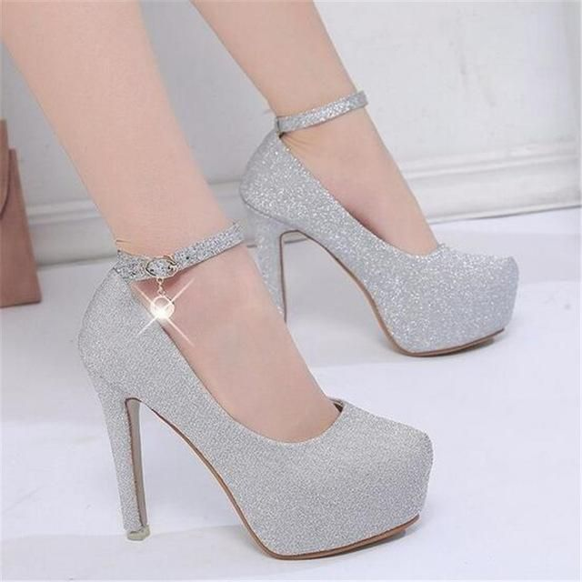 121e5e020be 2018 women high heels prom wedding shoes lady crystal platforms silver  Glitter rhinestone bridal shoes thin heel party pump