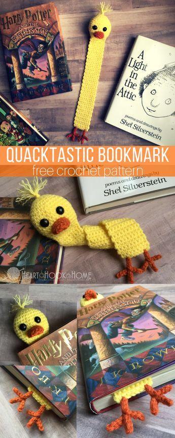 Quacktastic Duck Bookmark Free Crochet Pattern http://hearthookhome.com/quacktastic-duck-bookmark-free-crochet-pattern/?utm_campaign=coschedule&utm_source=pinterest&utm_medium=Ashlea%20K%20-%20Heart%2C%20Hook%2C%20Home&utm_content=Quacktastic%20Duck%20Bookmark%20Free%20Crochet%20Pattern