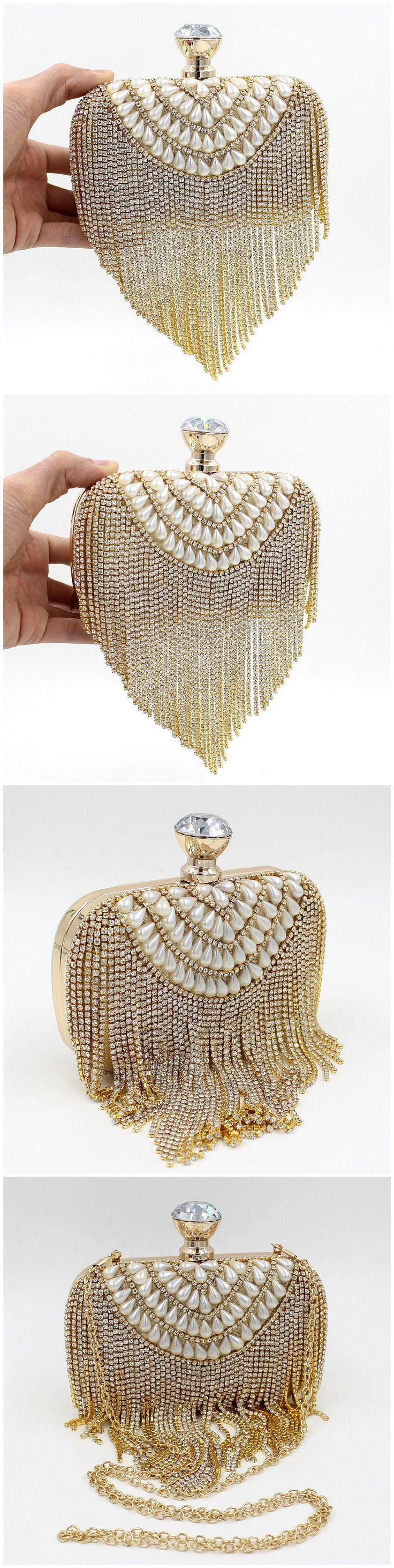 Новые поступления ручная сумка из бисера кристалл кисточкой гигантский алмаз блокировки женщины вечерние сумки кошельки металла муфты золото свадьба кошелек, принадлежащий категории Вечерние сумки и относящийся к Багаж и сумки на сайте AliExpress.com | Alibaba Group