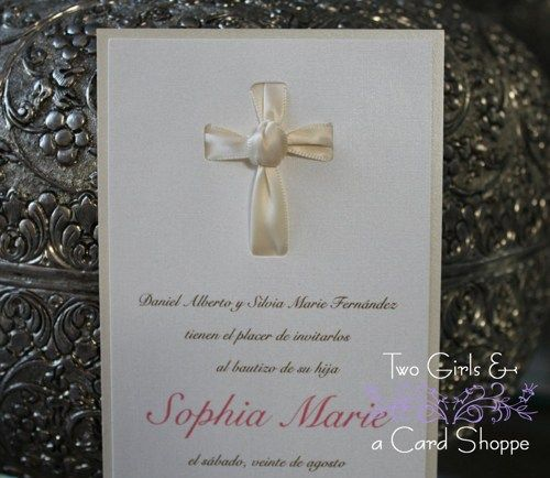 How sweet is this for your little girls baptism, christening, dedication or first communion.    Satin Pink ribbon is tied to resemble a cross.  Tea Length invitation is double-layered with shimmery pe